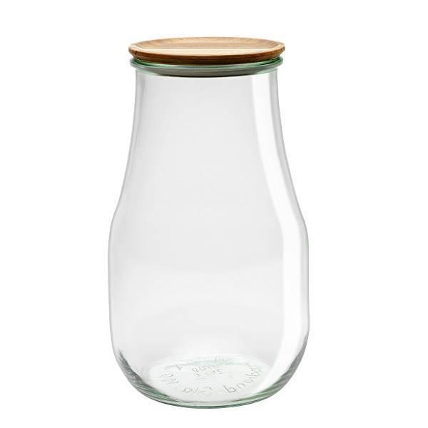 """Tarro Hermético de vidrio """"TULIP"""" 2,7L. con tapa de madera"""