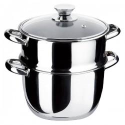 """Ensemble cuit vapeur """"Ecco Acero"""" couvercle verre 20cm."""