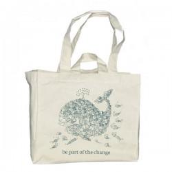 """Grand sac de courses en coton bio """"Be part of the change"""""""