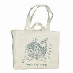 """Organic Cotton Reusable Shopping Tote Bag """"Be Part of the change"""""""