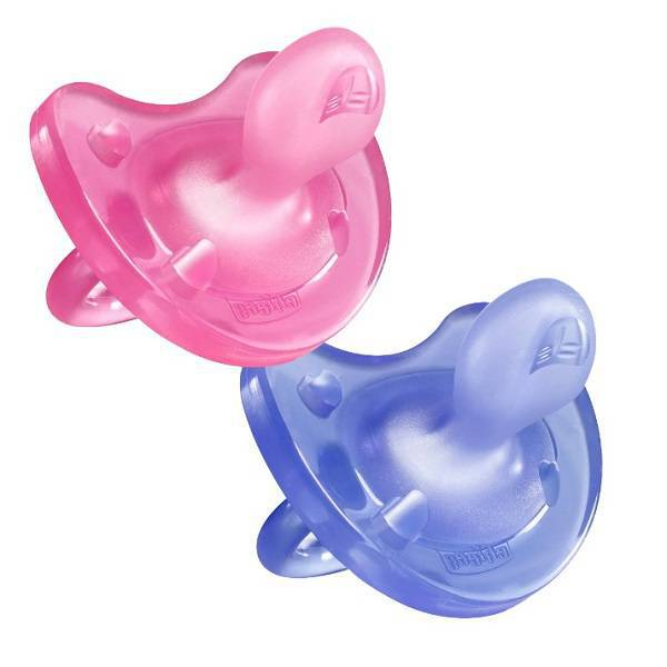 Chicco PhysioSoft Pink & Lilac Silicone Dummy 6-12 months. Pack of 2