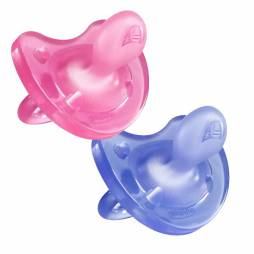 Chupetes de silicona 6-12 meses Chicco Pack Duo (rosa y lila)