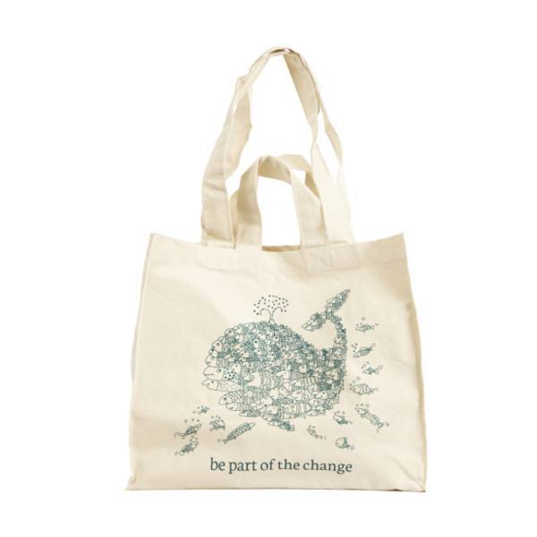 "Organic Cotton Reusable Shopping Tote Bag ""Be Part of the change"""