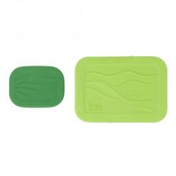 Juego de 3 recipientes herméticos rectangulares de inox y silicona