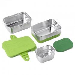 Trio boîtes repas rectangulaires en metal et silicone