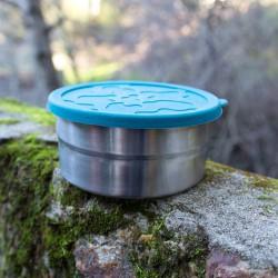 Boîte repas ronde en metal et silicone