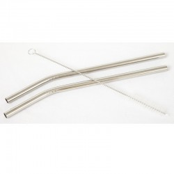 2 reusable stainless steel bent drinking straws - Ø 8 mm.
