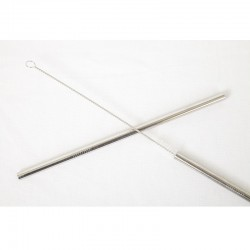 2 reusable stainless steel straight drinking straws - Ø 8 mm.