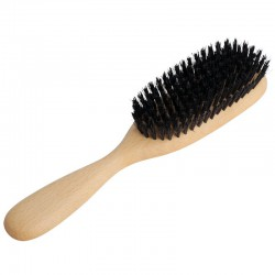 Natural bristle and beechwood longish head hairbrush