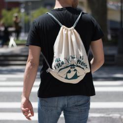 """Sac à dos en coton bio """"All I sea is plastic"""""""