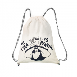 "Organic Cotton Rucksack ""All I sea is plastic"""