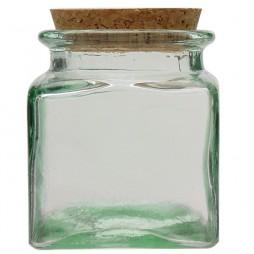 Pot en verre recyclé carré 0,5l.