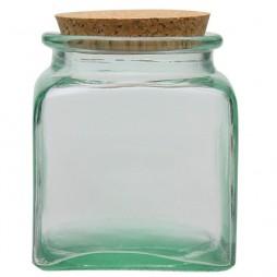Tarro de vidrio reciclado cuadrado 1,1l.
