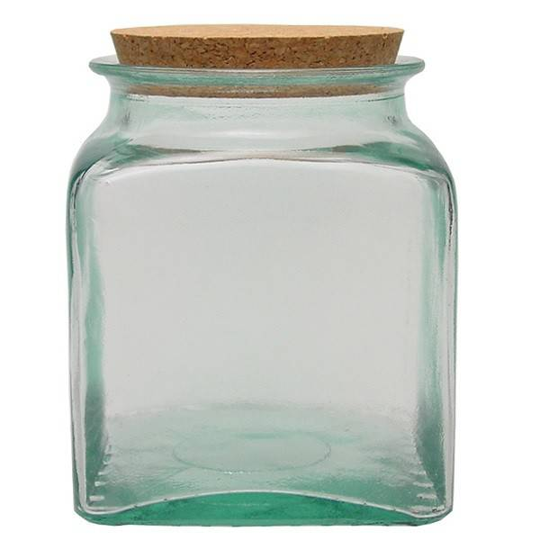Recycled glass square canning jar 1,5l.