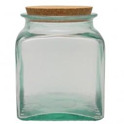 Tarro de vidrio reciclado cuadrado 1,5l.