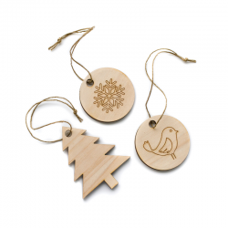 Wooden eco-friendly Christmas decorations - Pack of 3