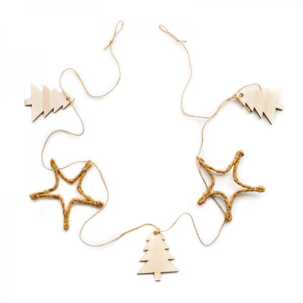 Guirnalda de Navidad de madera y esparto