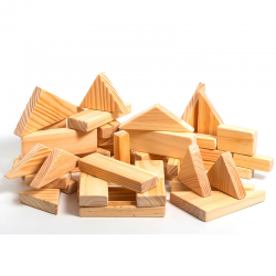 Natural wood building set