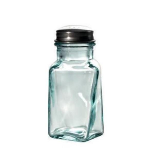 Recycled glass salt bottle