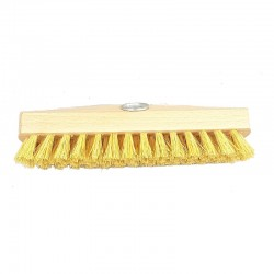 Wooden deck scrub brush head with vegetable tampico or Union palmyra