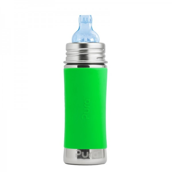 """""""Pura"""" 325ml. Sippy Spout Stainless Steel Baby Bottle"""