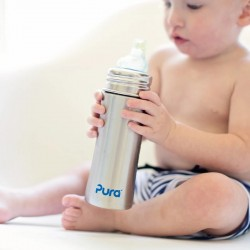 """Pura"" 325ml. Sippy Spout Stainless Steel Baby Bottle"