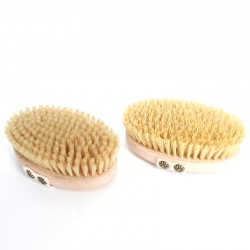 Bath brush with removable handle and vegetal fibers