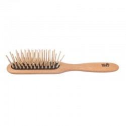 Brosse à cheveux plate à pointes en bois extra longues