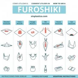Emballage cadeau réutilisable en tissu Furoshiki Petit format
