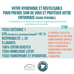 Mascarilla higiénica lavable reutilizable de algodón
