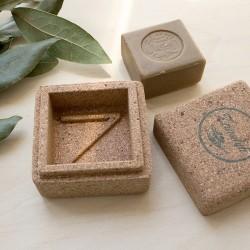 Boîte à savon en liège et son Véritable Savon d'Alep artisanal