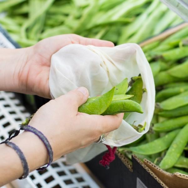 Sac à vrac réutilisable en voile de coton bio