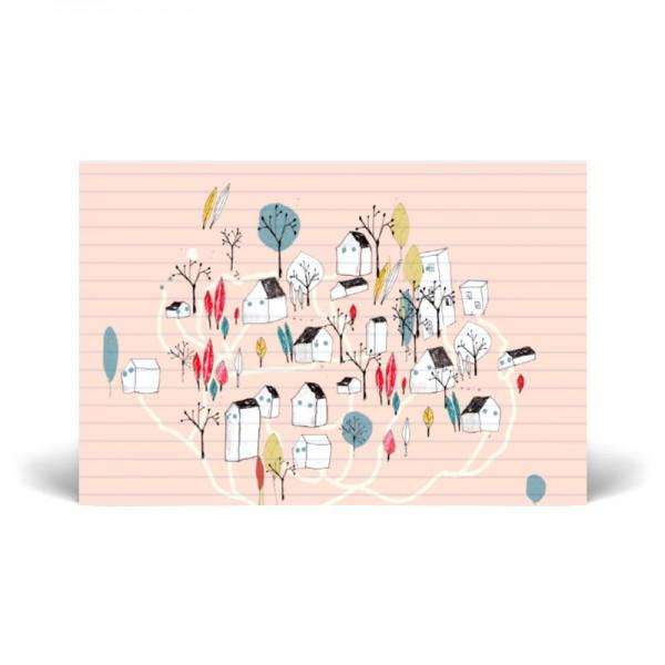 Postal simple 10x15 cm - Pueblo - Papel certificado FSC