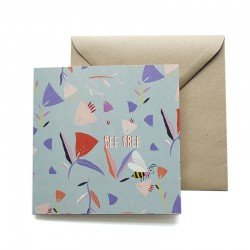 Carte double 14 x 14 cm - Abeille - Papier FSC