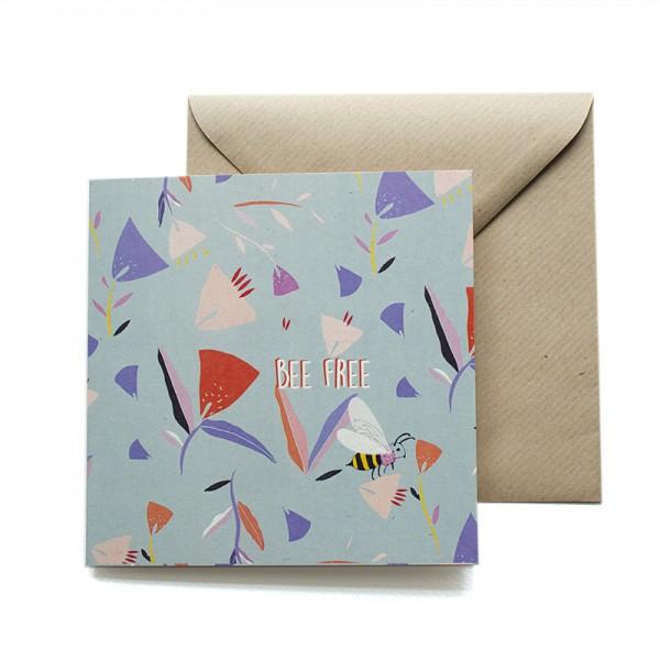 Postal doble 14x14 cm - Abeja - Papel certificado FSC