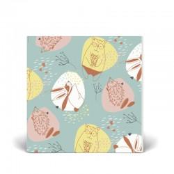 Postal doble 14x14 cm - Osos y Conejos - Papel certificado FSC