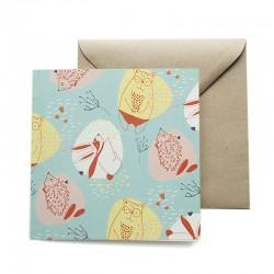 Carte double 14 x 14 cm - Ours et Lapins - Papier FSC